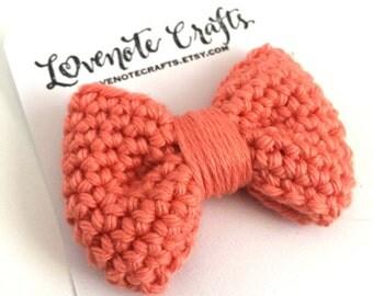 Crochet Hair Bow: Mango Orange - Crochet Hair Clip - Crochet Bowtie - Infant - Photography Props - Toddler
