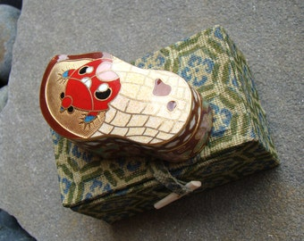 Vintage Asian Cloisonne Ladybug Enamel Trinket Box