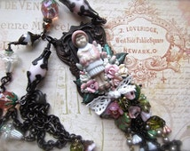 Doll Necklace, Vintage Doll Pendant, Pinky In The Garden, Rusty Black Pendant, Rusty Black, Pink Doll Necklace, Vintage Beads, Pink