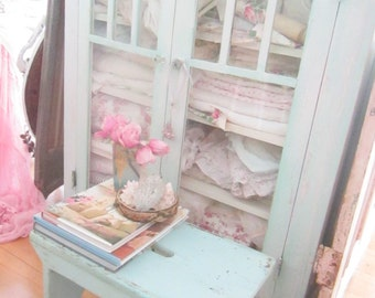 Stool Shabby chic Chippy  aqua vintage stool  farmhouse cottage romanticvintage shabby chic prairie