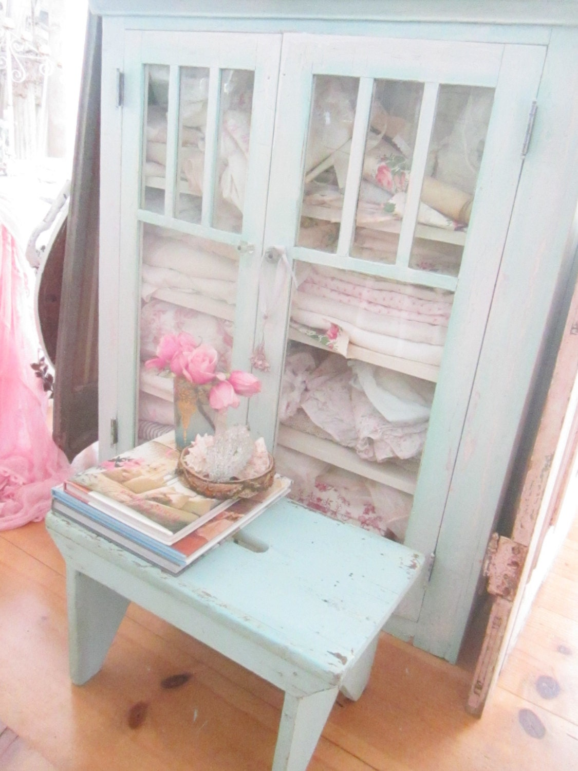 stool shabby chic chippy aqua vintage stool farmhouse. Black Bedroom Furniture Sets. Home Design Ideas