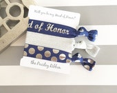 Navy and silver Will you be my Maid of Honor hair tie set with display card, maid of honor favor, maid of honor box, maid of honor proposal