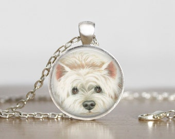 West Highland White Westie Illustration Dog Pendant