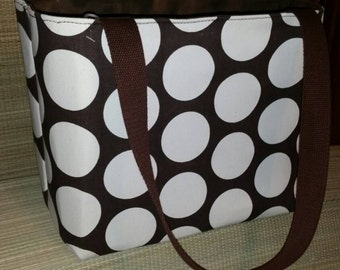 Brown with circles dots tote