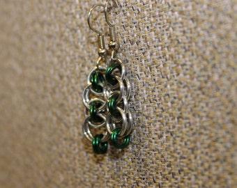 Dark green helm earrings