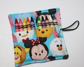 Tsum Tsum READY TO SHIP, Crayon Rolls Mickey & Friends Birthday Party Favors made from Tsum Tsum fabric, holds 8-10 crayons, sleeves wraps