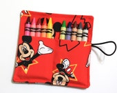 Mickey Mouse Party Favors Crayon Rolls READY TO SHIP, made from Mickey Mouse fabric, crayons holder, Mickey Mouse Birthday, sleeves, wraps
