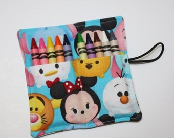Tsum Tsum READY TO SHIP, Crayon Rolls Mickey & Friends Kids Birthday Party Favors made from Tsum Tsum fabric, Childrens Party