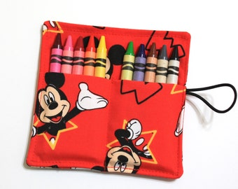 Mickey Mouse Crayon Rolls Party Favors, made from Mickey Mouse fabric, crayon holder for 10 Crayons, Mickey Mouse Birthday Party Favors