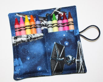 Crayon Roll Party Favors-made of Star Wars fabric-Crayon-Rollup, Space Ships, holds up to 10 Crayons-Birthday Party Favors