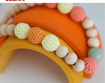 Sale! Nursing necklace - Colors of the fall. Yellow, coral, orange crochet teething necklace.