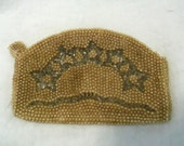 Vintage Le Jule Beaded Purse Art Deco Star Design Formal Handbag  Clutch Champagne Gold Makeup Bag