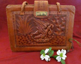 Gorgeous Vintage Mexican Brown Leather Handtooled Purse Boho Southwestern Eagle Snake Aztec Design Satchel Handbag by Lupe's Made in Mexico