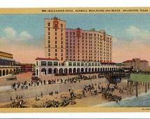 Vintage Galveston Texas Postcard, Buccaneer Hotel, Seawall Boulevard and Beach, 1940s Linen Post Card, Travel Ephemera, Unused Postcard