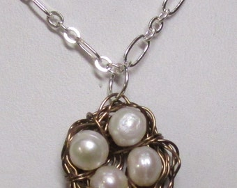 White Pearl Bird's Nest with Matching Earrings, Bird's Nest Necklace, Birds's Nest Earrings