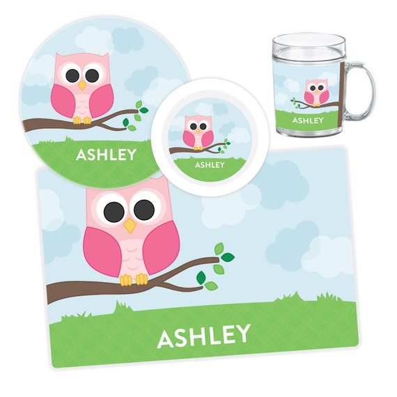 Il_570xn  sc 1 st  Catch My Party & Owl Plate Bowl Mug or Placemat - Personalized Owl Dinnerware Set ...