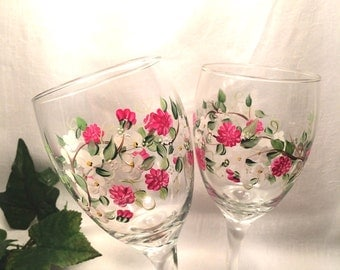 Dogwood and spring flower pair of wine glasses hand painted