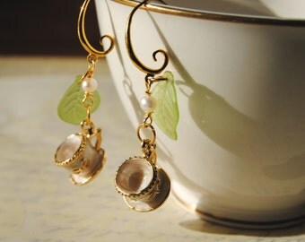 Dangle earrings. Tea Cup Earrings. Tea Party Earrings. Mini Tea Cups, Enamel Cup Earrings, Art Jewelry, Gift for her