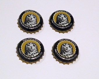 Smuttynose Beer Bottle Caps (4) Craft SupplyNew England Brewing Company Seal Beer Caps Black and Gold Bottlecaps Metal Beverage Caps 2010s
