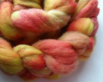 Applecart: 100g hand dyed Merino roving with nylon