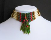 Red and Green Glass Choker Necklace with Bone Hair Pipe Beads and Tibetan Style Metal Spacer Beads with Suede and Deerskin Leather and Lace