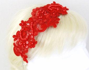 Red Beaded Lace Headband , Bridal Red  Headband, Bridemaid Red Lace Headband, Red Lace Headband