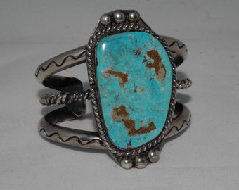 Lovely Old Large Vintage Navajo Morenci Turquoise Hand Wrought Heavy Silver Bracelet 107 Grams