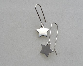 Contemporary Sterling Silver Star Earrings