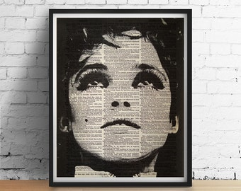 EDIE Sedgwick 1960s Factory Girl New York Mod Warhol Art Print Poster Black and White Wall Decor Vintage Dictionary Page 8x10 11x14 ++Sizess