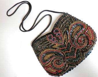 Vintage Embroidered Purse, Beaded Handbag, Womens Sequinned Bag, Party