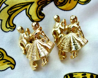 Vintage Dancing Couple Rockabilly Square Dancer Gold Tone Clip On Earrings