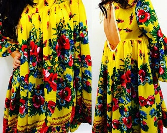 CLEARANCE Bohemian Yellow Dress , Yellow Boho Dress , Etno Dress , Gypsy Flower Dress , Harajuku Yellow Dress