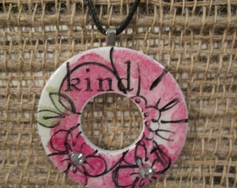 KIND - 2 inch metal washer necklace with  flowers, rhinestones