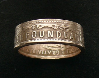 Rare Bronze Coin Ring 1907 Newfoundland 1 Cent, Ring Size 9 and Double Sided
