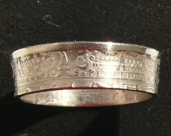 1945 Mexican Calendar Coin Ring, Ring Size 8 1/2 and Double Sided