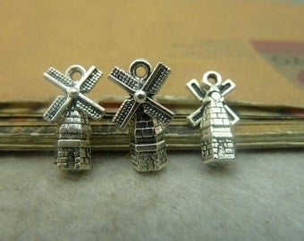 30pcs 9*17mm antique silver windmill charms pendant C4842