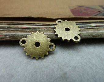 50pcs 15*18mm antique bronze gear charms pendant C8026