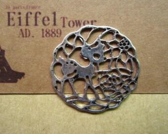 10pcs 34x33mm antique silver deer animal charms pendant B432