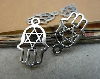30pcs 12*20mm antique silver hamsa hand charms pendant C2881