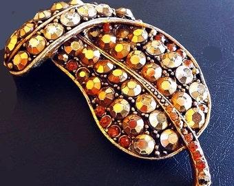 "Weiss Art Deco Brooch Gold Arum Rhinestones Leaf Shaped Gold Metal 2.5"" Vintage"