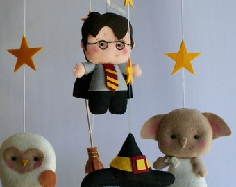 Harry Potter Mobile, Baby Crib Mobile, Nursery Wizard, BB Felt Furniture, Bedding, Harry Potter Dobby Sorting Hat Hedwig Broomstick + Bday 7
