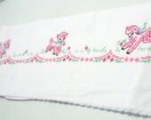 Vintage Hand Embroidered Embellished Flat Crib Sheet Lamb Sheep Pink White Cotton Lace Fabric Upcycle: Window Treatment roman shade dress