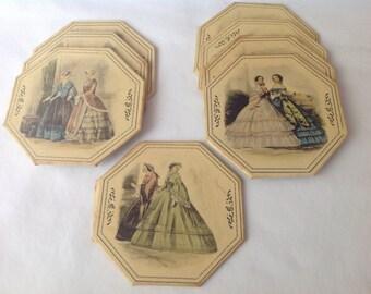 Vintage Coasters, 8 Rare Vintage Coasters, Set of Vintage Coasters