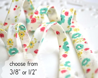 "retro fruit and flowers - double fold, bias tape - 3 yards, CHOOSE 3/8"" or 1/2"" wide"