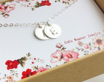 Two Initials Necklace - All 925 Sterling Silver - Personalization Gift, Monogram Necklace,  Bridesmaid Gift,  Mothers Gift, Holiday Gift