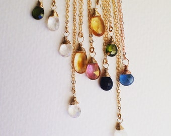 Gemstone Necklace/ Birthstone Necklace/ Bridesmaid Necklaces/ Simple Gold Necklace/ Rose Gold Jewelry/  Silver Birthstone Necklace