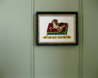 "Dollhouse cross stitch - ""putting on the dog"""