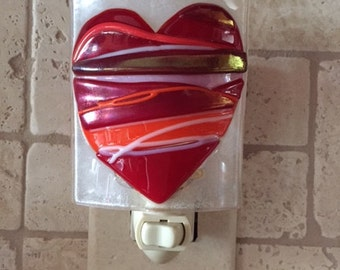 Timeless Gift! Valentine's Day Heart Nightlight Handmade in Fused Glass