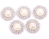 Metal Rhinestone Buttons - Pearl Drop Button - 20mm SET OF FIVE - white