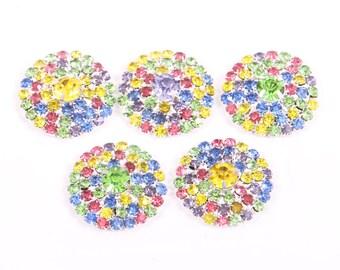 Rhinestone buttones, metal Super BLING Rainbow Buttons - 26mm - set of  FIVE  - rainbow stones